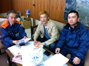 佐々木名取市長との笑顔袋受入れの会談