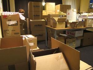 大会議スペースのサポーター企業からの提供物資